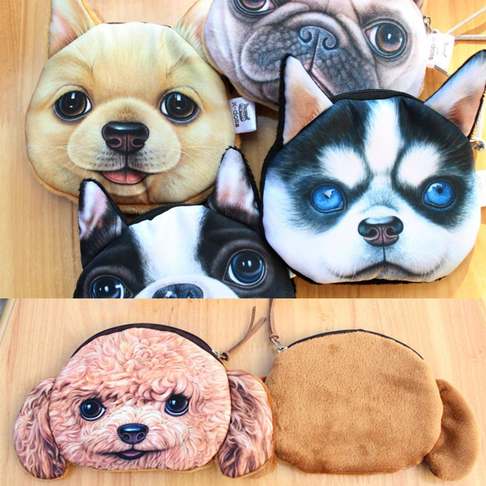 100% QualitäT Schöne 3d Hund Teddy Hund Bulldog Glocke Hund Golden Retriever Gesicht Tier Gedruckt Zipper Fall Karte Geld Geldbörse Brieftaschen