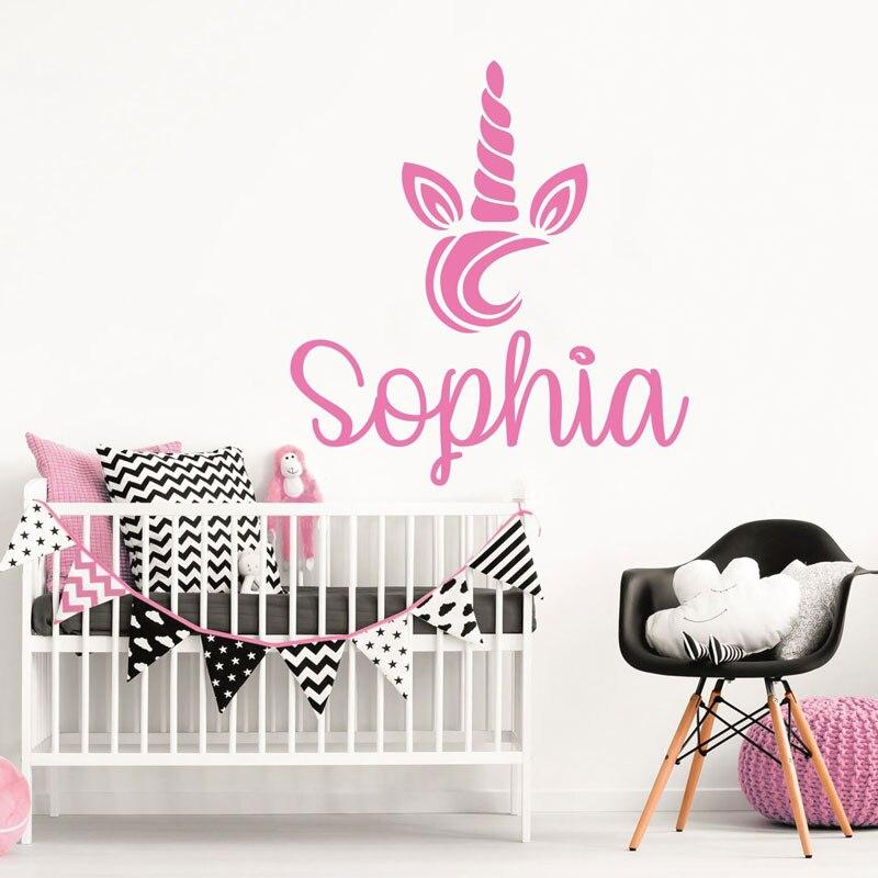Custom girl name wall decal unicorn, baby decal, vinyl sticker bedroom kindergarten decoration custom DIY18