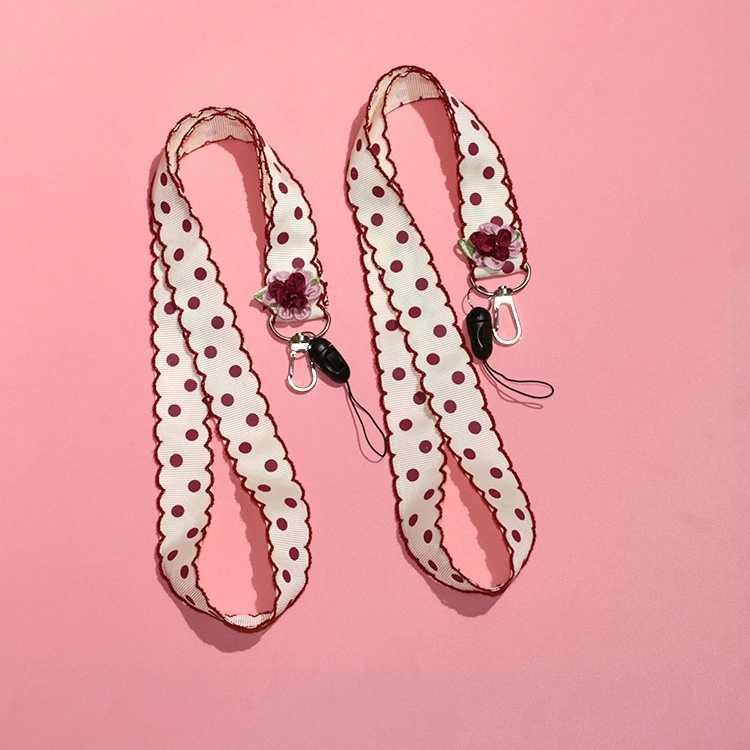 Correa de cinta rosa con patrón de puntos para funda de teléfono llavero de cinta corta y larga para bolso de mujer con dijes de coche cartera clave de la cadena