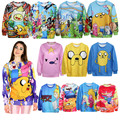 Adventure time cartoon 3d impreso sudaderas sping otoño estilo harajuku de manga larga sudaderas jerseys mujeres clothing