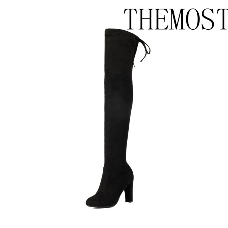 THEMOST Top Faux Suede Women Thigh High Boots Stretch Slim Sexy Fashion Over the Knee Boots Female Shoes High Heels Black Gray