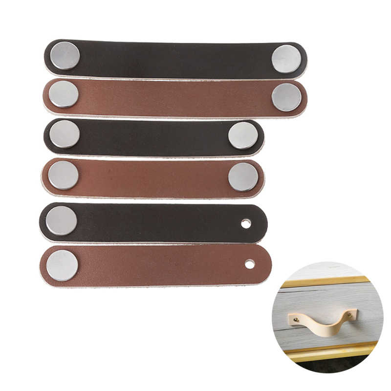 Retro Cabinet Handle PU Leather Dresser Drawer Door Knob Pull Furniture Hardware