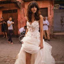 SINGLE ELEMENT Princess Wedding Dress Bridal Elegant Sweetheart Appliqued With Flowers Tulle Backless Boho Gown