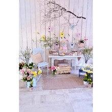 Contexto da Fotografia vinil Feliz Páscoa Crianças recém-nascidas Flor de Impressão Digital de Fundo para photo studio