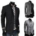 Nueva llegada 2015 diseño Asimétrico chaqueta negocio de la moda pequeño traje chaqueta de los hombres ocasionales adelgazan las chaquetas/abrigos envío gratis