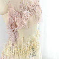 Goose yellow feather sequins beading embroidered lace trim feather lace trim for decoration