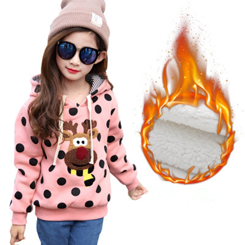 Winter Children's Sweatshirts For Girls New 2017 Fashion Cartoon Print Baby Girl Lovely Hoodies Casual Long Sleeve Kids Clothes