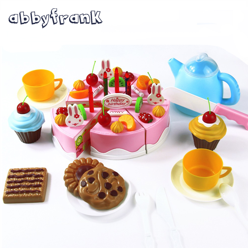 Abbyfrank 75Pcs Pretend Play Cutting Birthday Cake Kitchen Educational Tools Toy Food Toy Kitchen For Children Play Food Tea Set