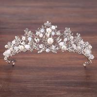 KMVEXO великолепные посеребренные цветы, Хрустальный жемчуг, большая свадебная корона, головная повязка, свадебная тиара, праздничное шоу, акс...