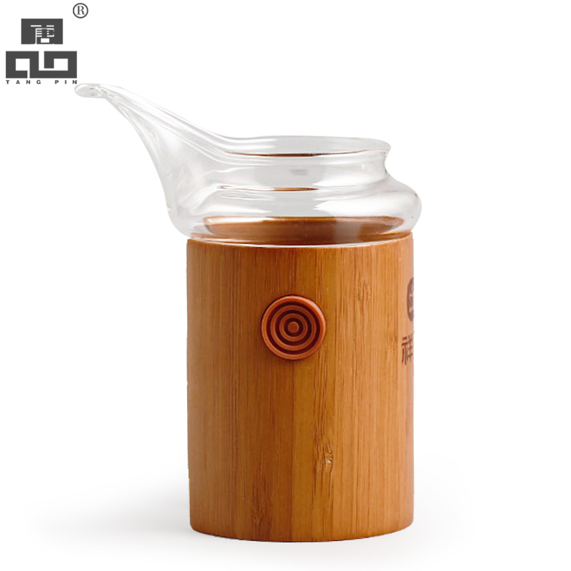 Tangpin clear heat resistant bamboo and glass tea accessories coffee maker glass cup chahai - Heat proof pitcher ...