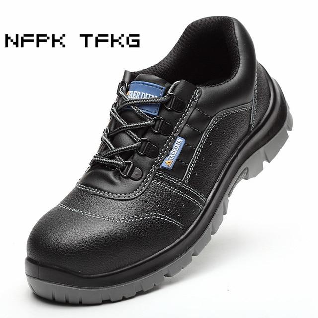 608a7b0aff517 Biqueira de aço tampas de moda masculina grande tamanho respirável sapatos  de segurança de trabalho de
