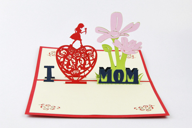 2017 Creative 3D Mothers Day Cards Pop Up Birthday Gift Card For Mom Best Gifts Thanks Giving I Love Theme
