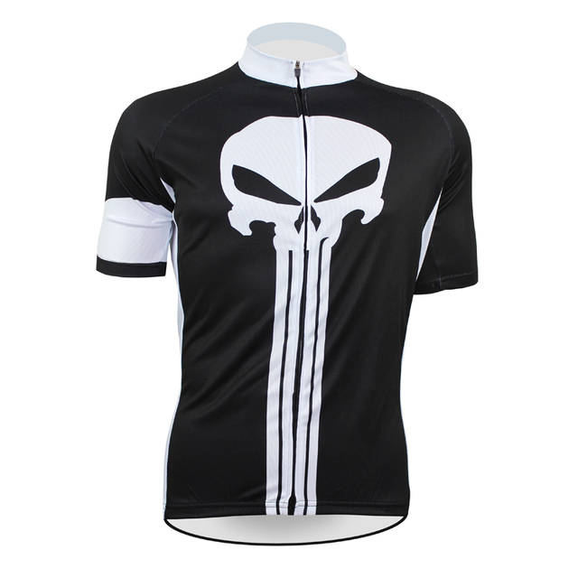 8a00a59a2 Free shipping Punisher Men Anti-sweat Short sleeve Cycling Jersey Black  Breathable Cycling Clothing White Skull Size XXS TO 5XL