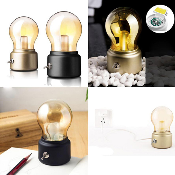 FGHGF Brand 2018 Warm Atmosphere 1PC Creative Retro Bulb Lamp LED Night Light USB Rechargeable Bedside Light High Quality