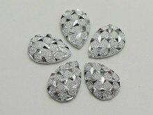 200 Silver Flatback Resin Glitter Stardust Teardrop Rhinestone Cabochons 9X13mm