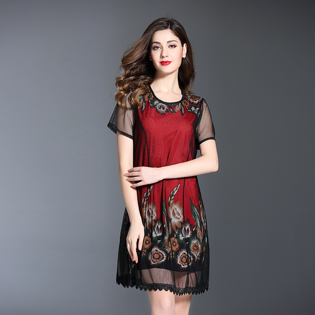 2018 Summer Floral Print Casual Short Sleeve Ladies Dress Plus Size