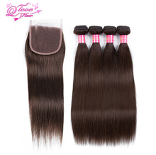Queen Love Hair Pre-Colored #2 Color Straight  Indian Hair 4 Bundles With Closure Non Remy Hair  Extensions Human Hair