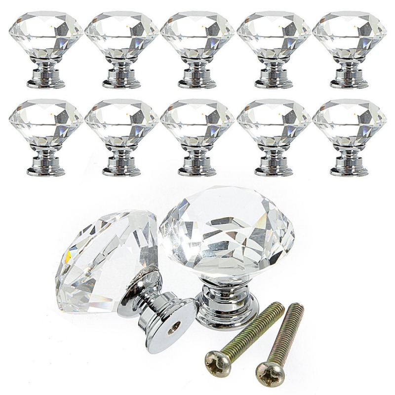 10 Pcs 30mm Diamond Shape Crystal Glass Drawer Cabinet Knobs and Pull Handles Kitchen Door Wardrobe Hardware Accessories mtgather 8pcs 40mm clear crystal glass diamond cut door knobs kitchen cabinet drawer knobs screw home decorating