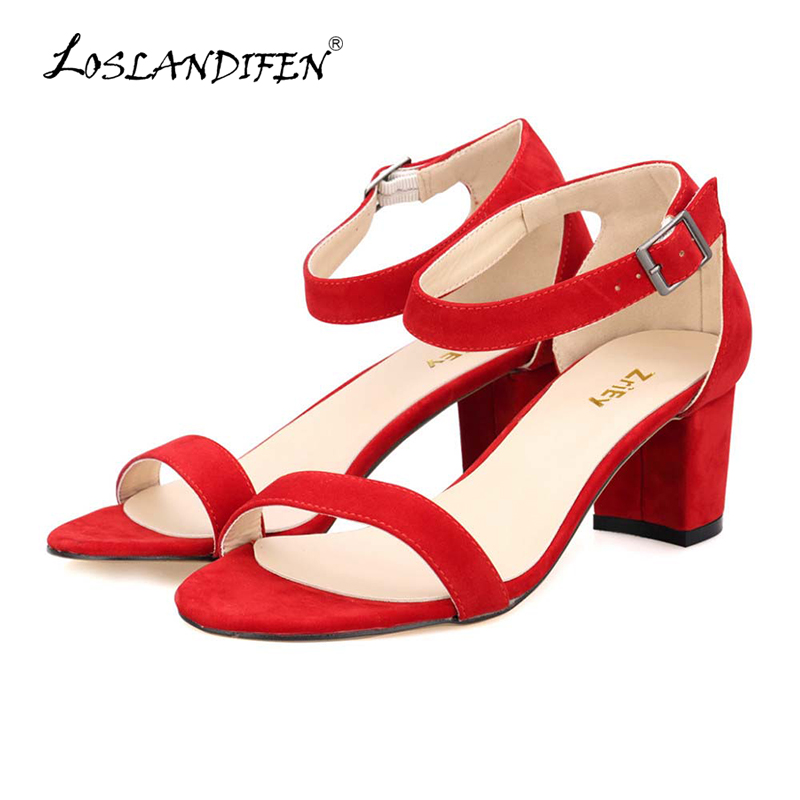 все цены на LOSLANDIFEN Ankle Strap Suede 5cm High Heels Woman Open Toe Sandals Sexy Low-heeled Shoes Ladies Cause Party  Pumps 691-1VE онлайн