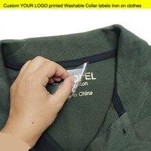 100 шт смешанный размер на заказ ваш Логотип Печатный ярлык тепло для переноса на одежду этикетки гладить на одежду моющийся ярлык на ошейник бирки рубашки