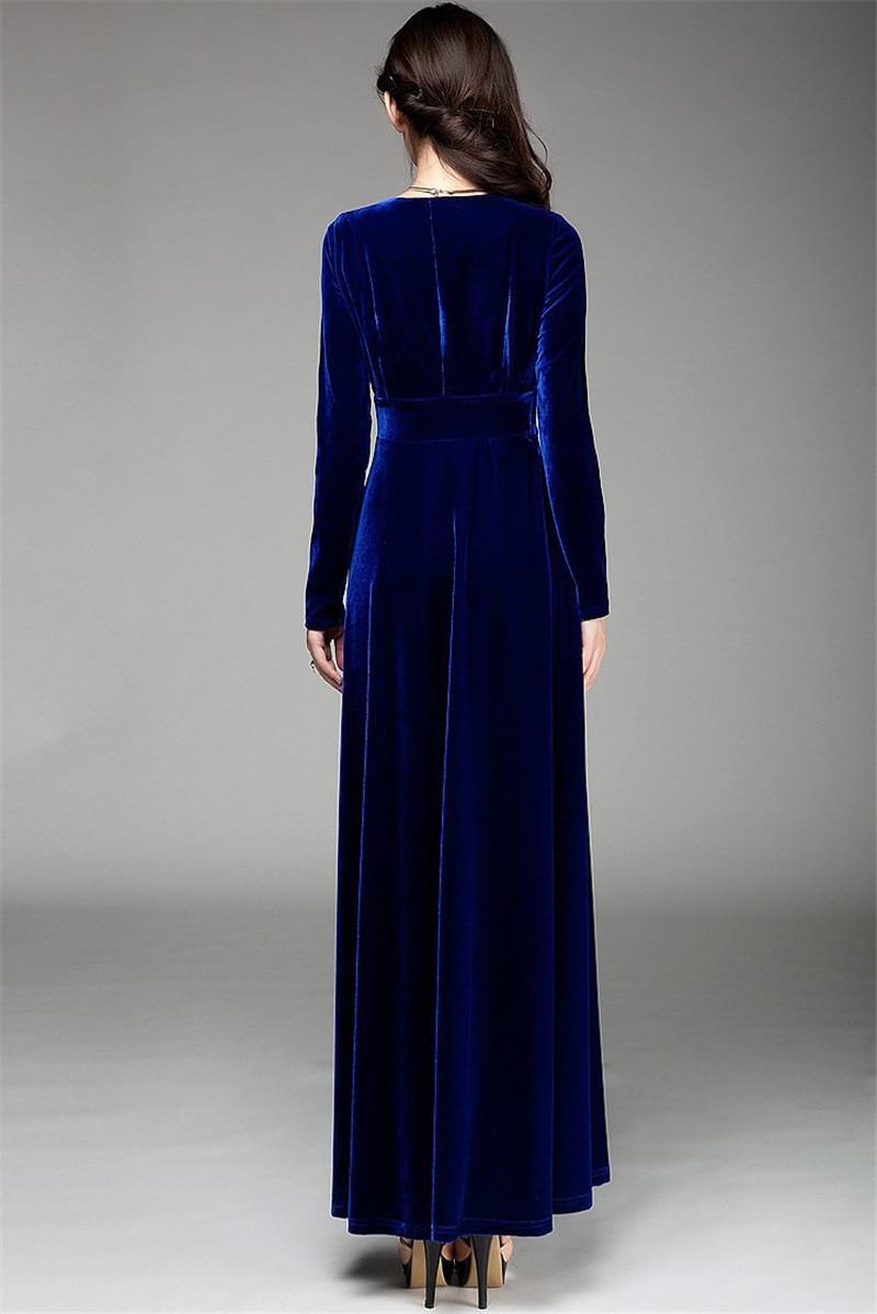 5b2c09482bf VISNXGI Women Velvet Maxi Dress Autumn Winter Long Sleeve Ladies ...