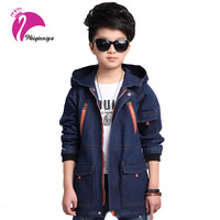 New 2017 Spring Kids Boys Jeans Jackets Cotton Long Sleeves Hooded Outerwear Fashion Children Patchwor Solid