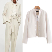 2018 Autumn Single Breasted Turtleneck White Jacket Coats Office Lady Formal Suit Jacket Europe Streetwear