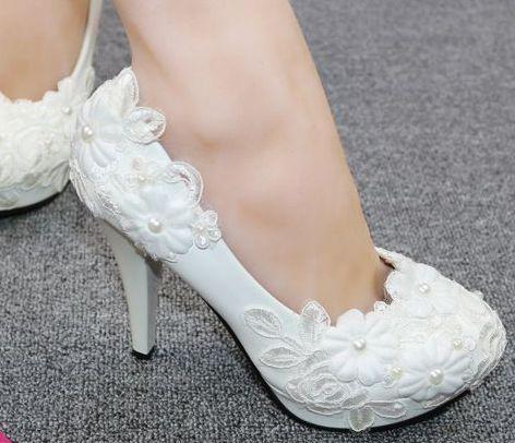 fbdea6b6 Buty ślubne kobieta biały koronki kwiaty kobiety sukienka buty obcasy plus  rozmiary dla nowożeńców druhny party białe buty ślubne w Buty ślubne  kobieta ...
