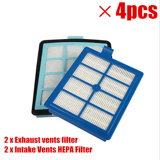 2x Exhaust vents filter +2x Intake Vents HEPA Filter Replacement for philips FC8766 FC8767 FC8760 FC8764 vacuum cleaner parts industrial vacuum pump intake filter in housing 2 rc inlet