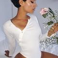 Black Button Women Bodysuit Slim Deep V Neck Long Sleeve Short Jumpsuit White Combinaison Femme Overalls Playsuit