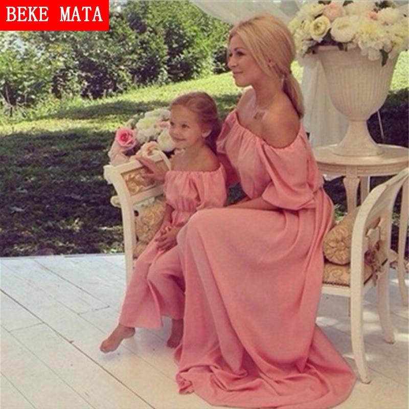 BEKE MATA Платья для матери-дочери 2019Летнее шифоновое платье для матери-дочери с коротким рукавом Family Look Mom Girl Clothing