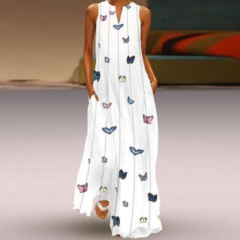 HEFLASHOR Summer Long Dresses Women Butterfly Printed V Neck Loose Big Swing Dress Boho Beach Dress Tunic Maxi Dress Party Wear Karachi