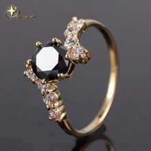 Copper Gold Color/ Silver Color Plated Black White Crystal cz Stone Rings for Women 2017 Fashion Jewelry XYR100882