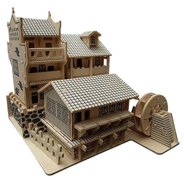 Candice guo! Jouet en bois 3D puzzle travail à la main bricolage assembler jeu woodcraft construction kit chine belle ville antique cadeau 1 pc