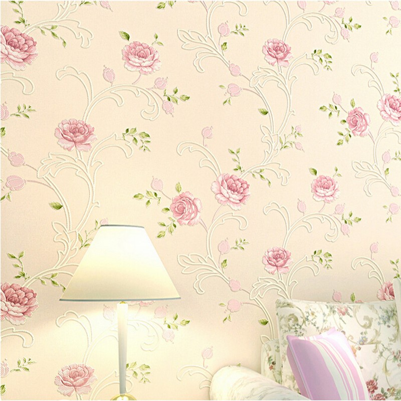 beibehang wallpaper Modern Romantic Victoria Country Pink Flower Floral Rose Floral Scroll Wallpaper papel de parede For Bedro 63 rose de mai