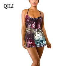 QILI Women Sexy Strap Sequin Jumpsuit Rompers Backless Sleeveless Colorful Sequined Playsuits Womens Short Overalls
