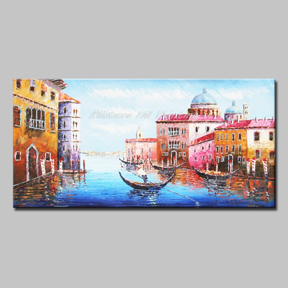 Handpainted Venice The City Of Water Landscape Oil Painting On Canvas Modern Home Decor For Living