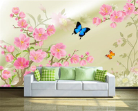 Beibehang Suitable For Home Decoration Silk Cloth Wallpaper Simple High Definition Peach Butterfly TV Wall Papel