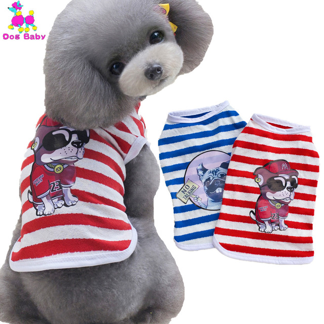 fe7b6acf3014 DOGBABY Summer Stripe Dog Clothing T shirt Cotton Print Pattern Costume Pet  Vest Blue Red Color Puppy Clothes For Male Dogs Cat