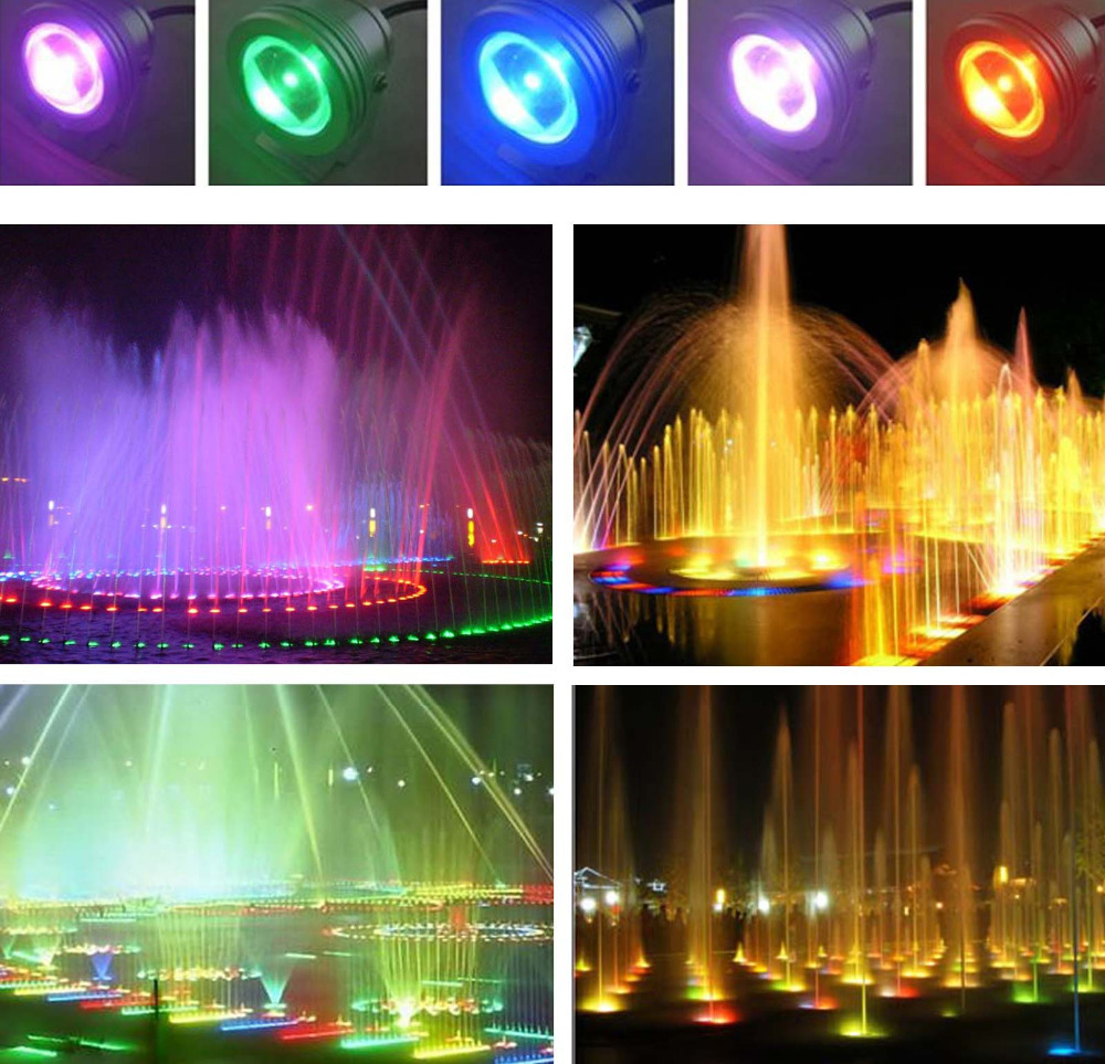 16 Colors 10W DC 12V RGB LED Underwater Fountain Light 1000LM ...