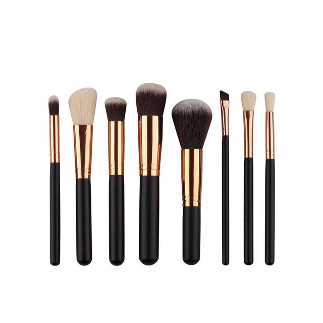 8 piezas mango de madera negro fibra artificial maquillaje cepillos cosméticos Fundación mezcla de herramientas de maquillaje