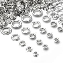 KALASO 100 комплектов, чистый латунный материал, серебро, 4 мм/5 мм/6 мм/8 мм/10 мм, люверсы с шайбой, подходят под кожу, сделай сам, обувь, пояс, крышка