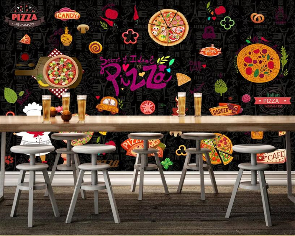 Pizza Restaurant Us 9 75 35 Off Beibehang Customized Papel De Parede 3d Wallpaper Western Restaurant Pizza Restaurant Front Background Wall Painting Wallpaper In