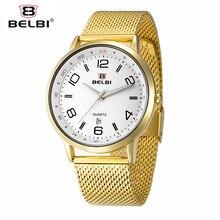 BELBI Top Brand Luxury Men Watch Waterproof Stainless Steel Quartz Watches Fashion Business Calendar Male Wristwatch Gold Clock