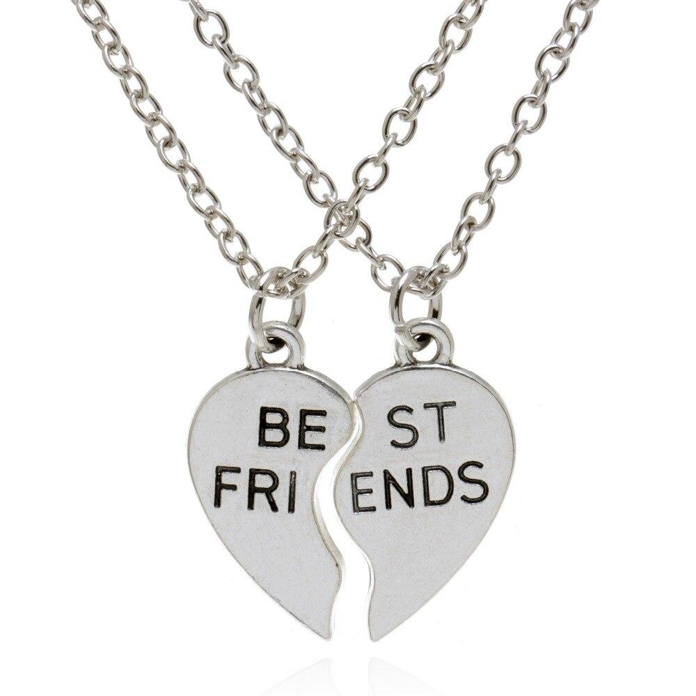 Комплект из двух предметов, ожерелье с подвеской в форме сердца для лучших друзей