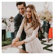 לורי Boho ארוך שרוול חתונה שמלה 2019 Robe דה mariee בציר תחרה למעלה חדש כלה שמלה נפוחה שיפון חתונת שמלות