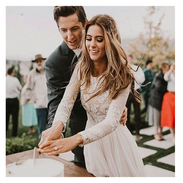 LORIE Boho Long Sleeve Wedding Dress 2019 Robe de mariee Vintage Lace Top New Bridal Dress Puffy Chiffon Wedding Dresses