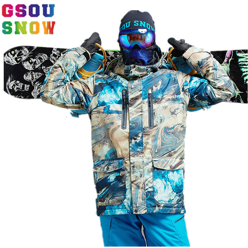 53d6d275b4 GSOU SNOW Brand Ski Jacket Men Winter Waterproof Snowboard Snow Jacket  Outdoor -30 Degree Sports Wear Coat Mountain Skiing Coats