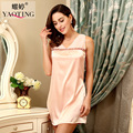 2017 Women's Imitation Silk V-neck Sleepshirt Sleeveless Mini Short Nightdress Plus Size Vest Nightgown Sexy Sleepwear For Woman
