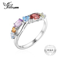 JewelryPalace Fashion 0 9ct Multicolor Natural Sky Blue Topaz Amethyst Citrine Garnet Peridot Promise Ring 925